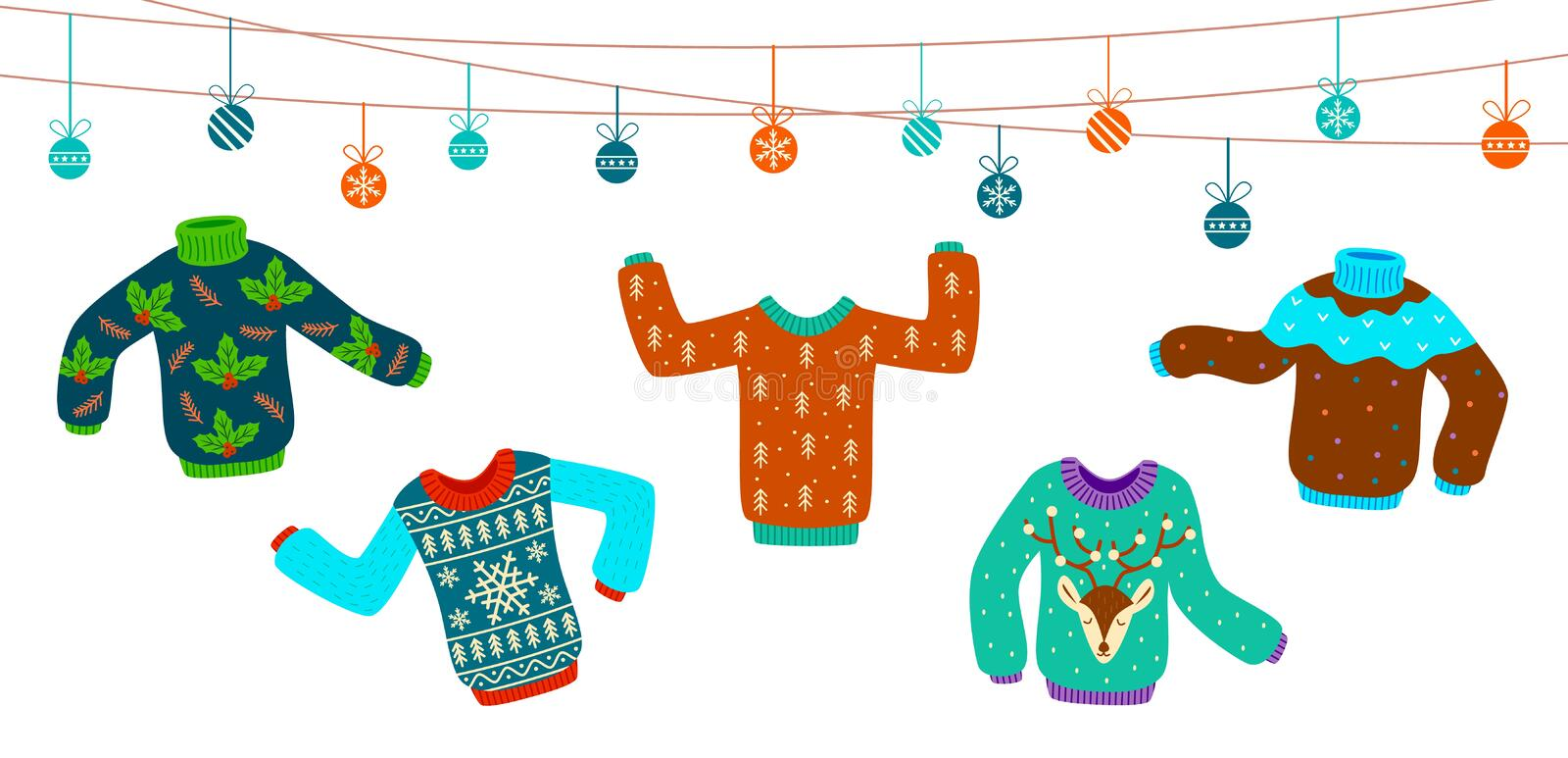 Ugly christmas sweater. Dancing knitting sweaters, xmas jumpers vector winter holiday party invitation card stock illustration