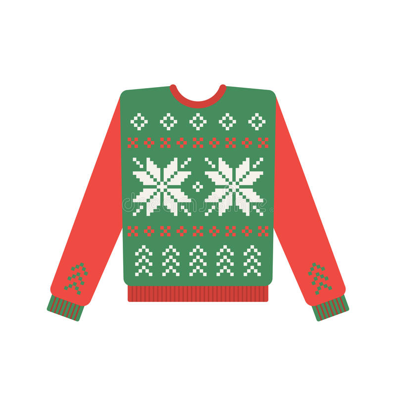 Ugly christmas sweater with deer pattern vector illustration