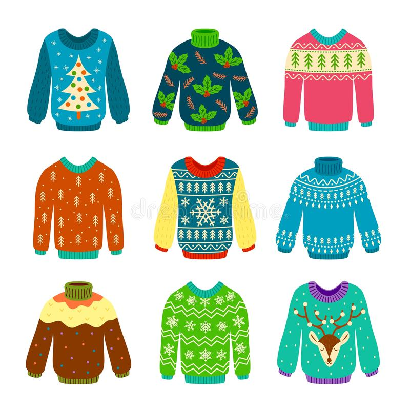 Ugly christmas sweater. Knitted jumpers with winter patterns, snowflakes and deer. Xmas funny cozy clothes. Isolated. Vector design various flat element set royalty free illustration