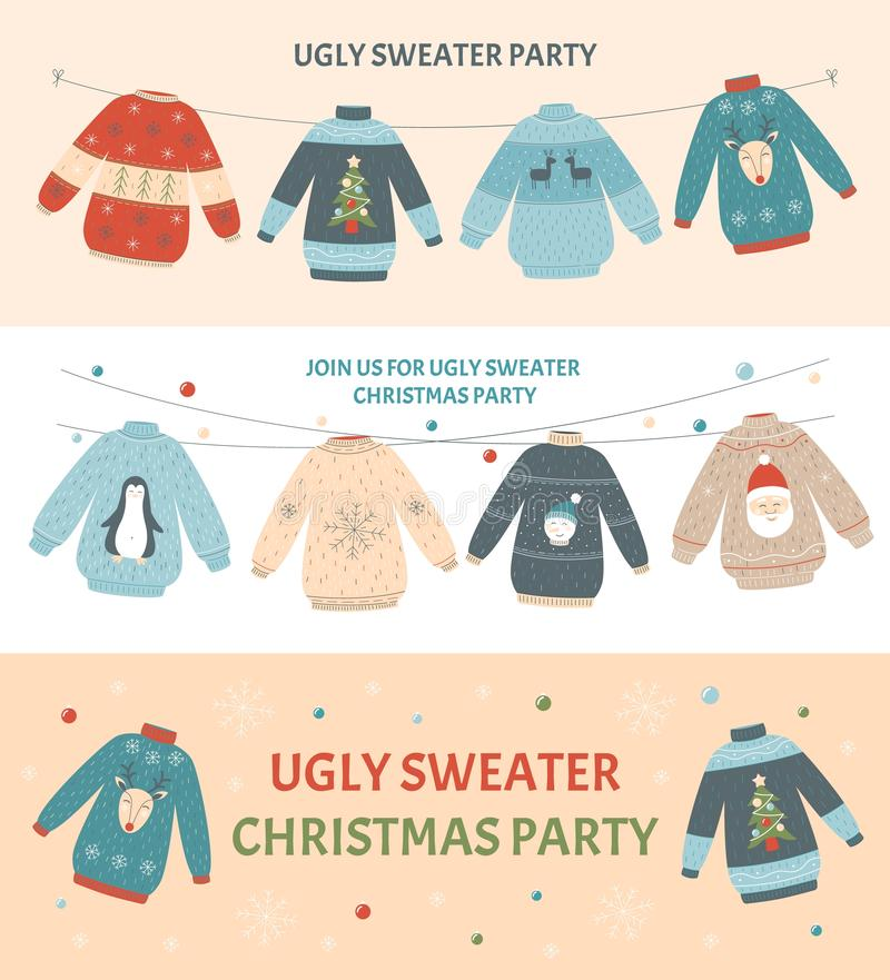 Ugly Christmas sweater party banner set with different colorful holiday jumpers royalty free illustration