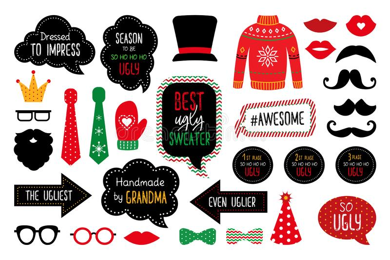 Ugly Christmas sweater party photo booth props stock illustration