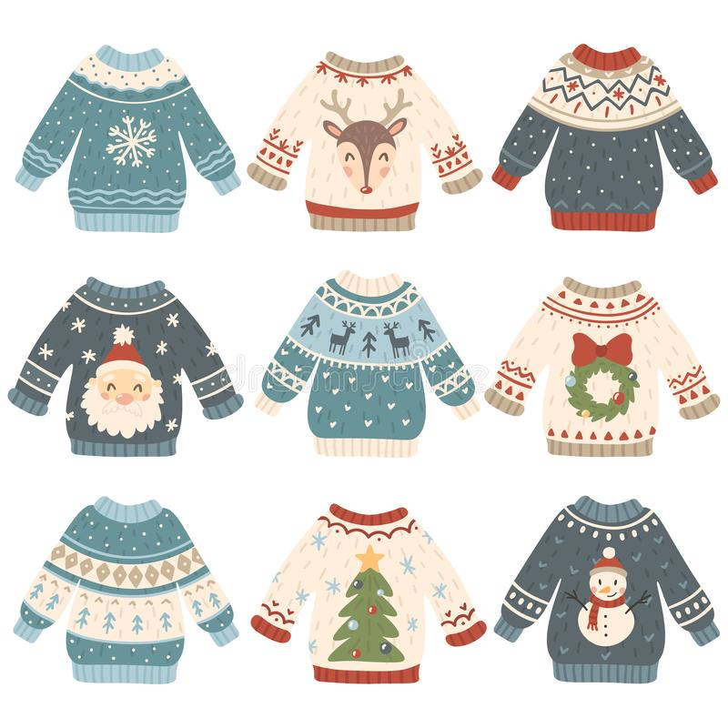 Free Ugly Christmas Sweaters. Cartoon Cute Wool Jumper. Knitted Winter Holidays Sweater With Funny Snowman, Santa And Xmas Royalty Free Stock Image - 126290736