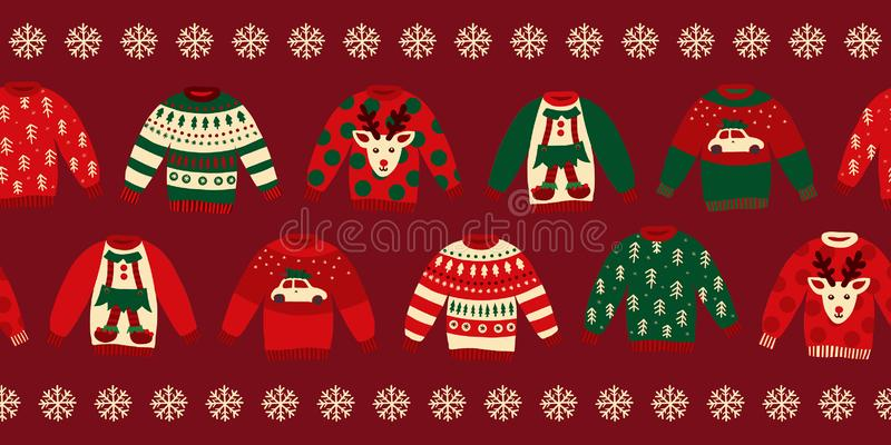 Ugly Christmas sweaters seamless vector border. Knitted winter jumpers with norwegian ornaments and decorations. Holiday design green, red, white for party royalty free illustration