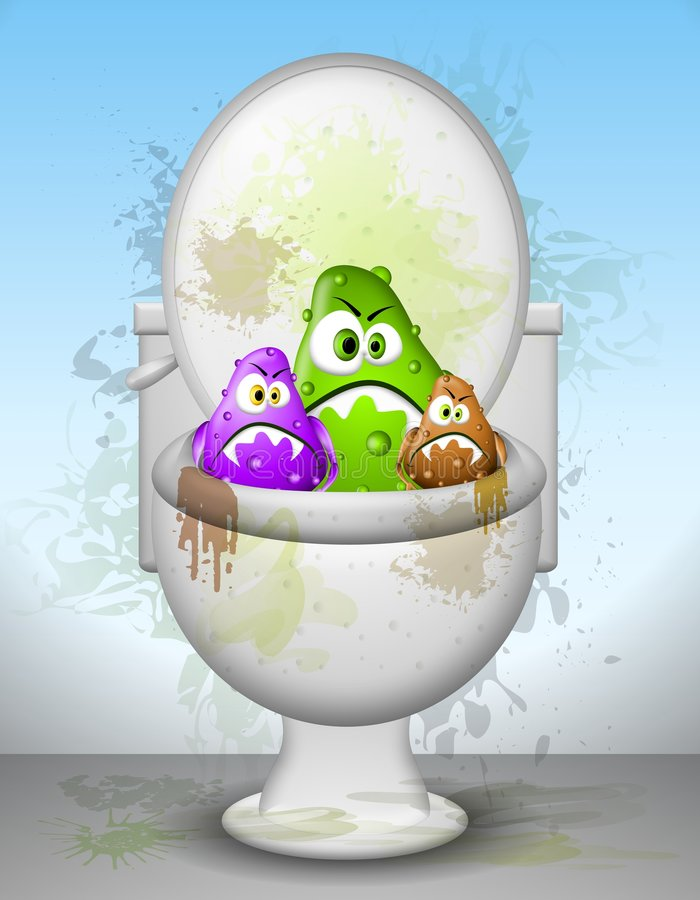 Ugly Dirty Toilet Bowl Germs. Yuck! This is an illustration featuring a bunch of germs with mean faces sticking out of a filthy toilet bowl. Somebody clean that vector illustration