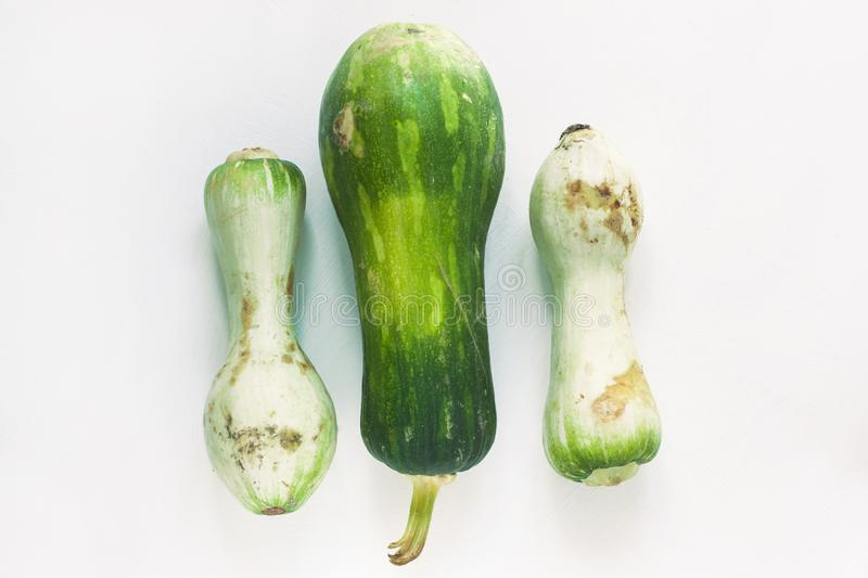 Ugly food concept. Unusual shaped zucchini with mold, scar-like structure, scratches. Top view. Ugly food concept. Unusual shaped zucchini with mold, scar-like royalty free stock photography