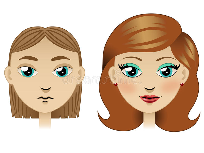 Ugly Girl Tranformed Into Pretty Girl Stock Vector ...
