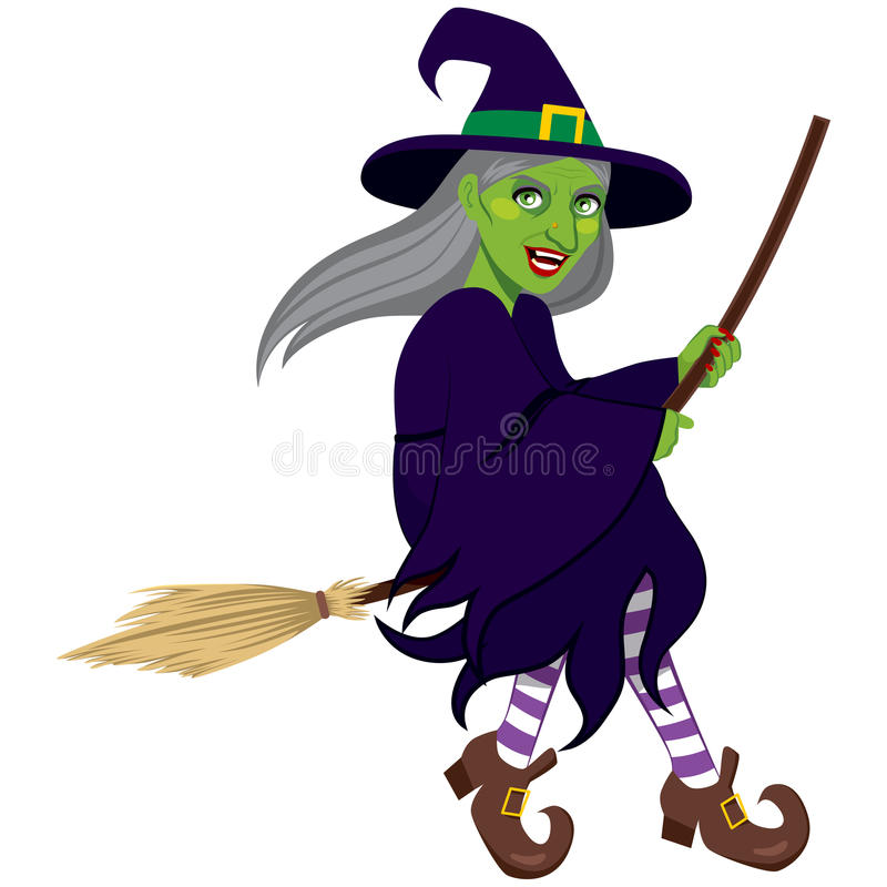 Ugly Green Witch Flying stock illustration