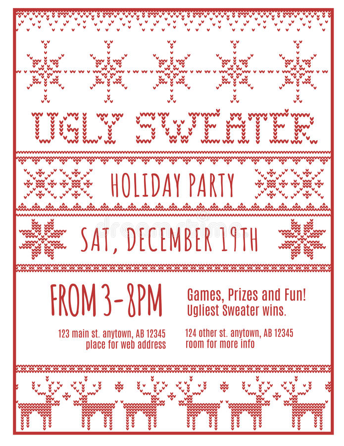 Ugly Holiday Sweater Party Invitation stock illustration