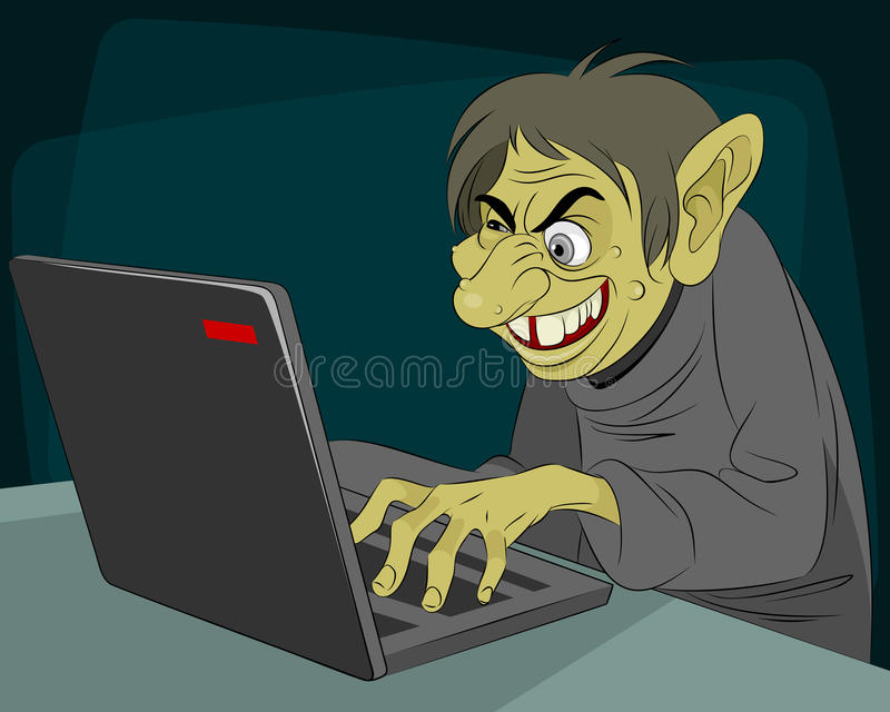 Ugly internet troll. Vector illustration of a ugly internet troll stock illustration