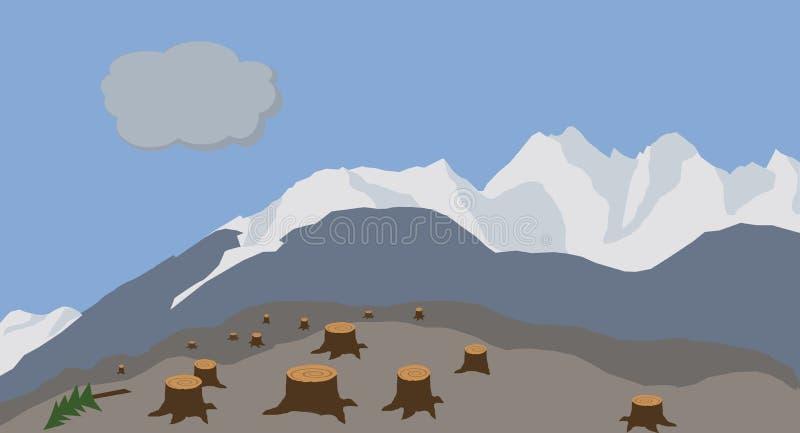 Ugly logged hillide illustration vector illustration