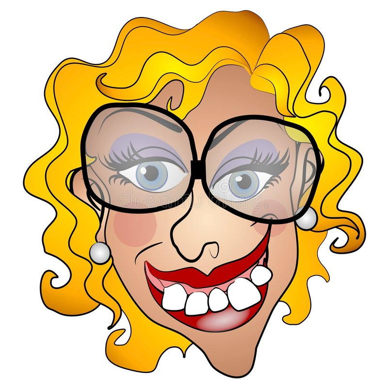 Ugly Netty Young Woman Smiling royalty free illustration