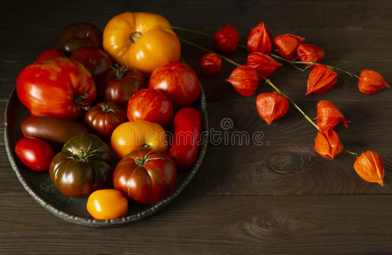 Ugly raf, kumato, heirloom  tomatoes on brass tray, homegrown and  fresh gathered and  dried Physalis royalty free stock photos
