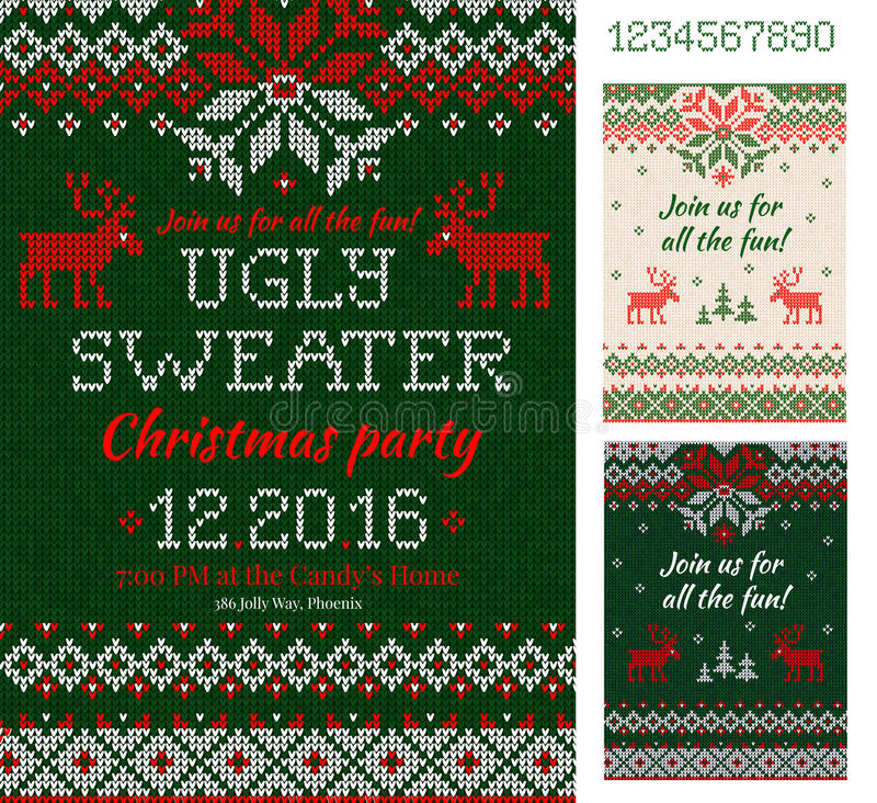 Free Ugly Sweater Christmas Party Cards. Knitted Pattern. Scandinavia Stock Image - 82131901