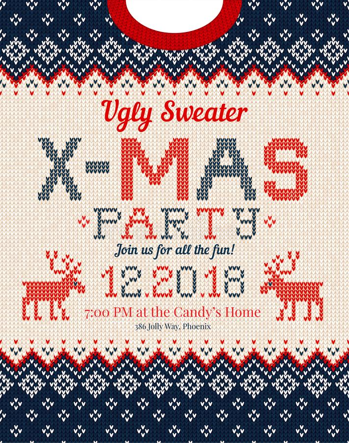Ugly sweater Christmas party invite. Knitted background pattern scandinavian ornaments royalty free illustration