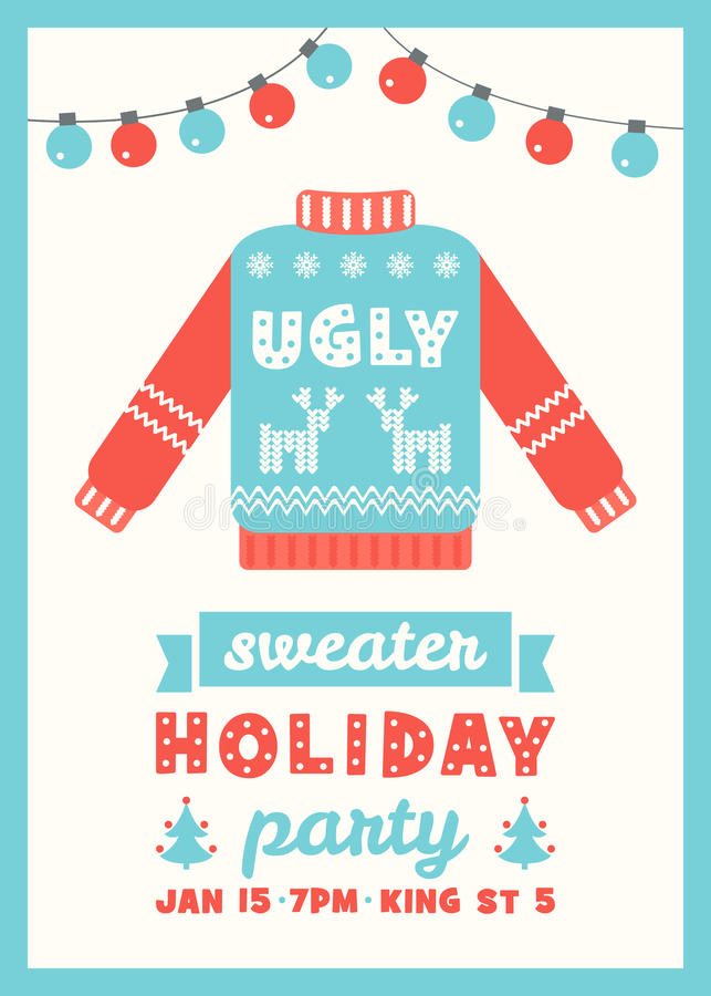 Ugly Sweater Holiday Party Invitation Card vector illustration