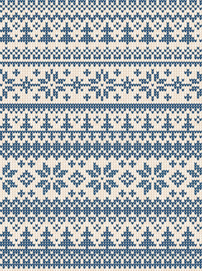 Ugly sweater Merry Christmas Happy New Year Vector illustration knitted background seamless pattern folk style scandinavian royalty free illustration