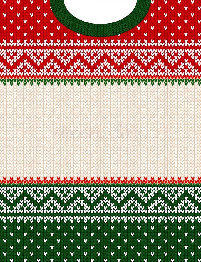 Free Ugly Sweater Merry Christmas Ornament Scandinavian Style Knitted Background Frame Border Royalty Free Stock Images - 152245899