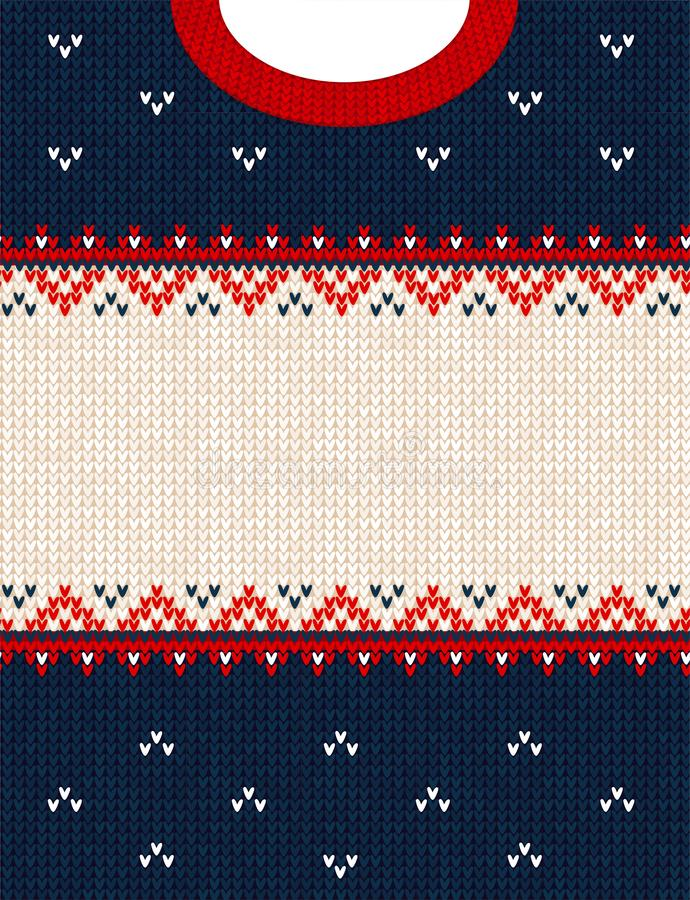 Ugly sweater Merry Christmas ornament scandinavian style knitted background frame border. Ugly sweater Merry Christmas party ornament. Vector illustration royalty free stock photos