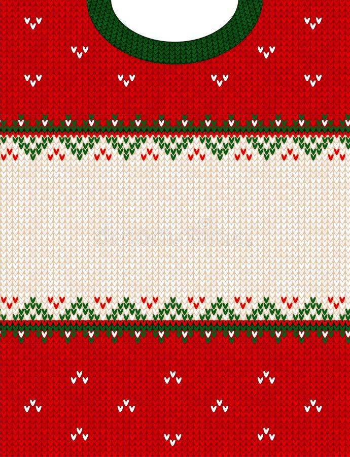 Ugly sweater Merry Christmas ornament scandinavian style knitted background frame border. Ugly sweater Merry Christmas party ornament. Vector illustration stock image