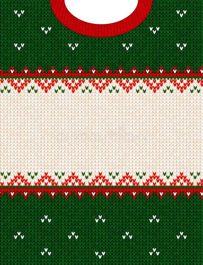 Ugly sweater Merry Christmas ornament scandinavian style knitted background frame border. Ugly sweater Merry Christmas party ornament. Vector illustration stock photography