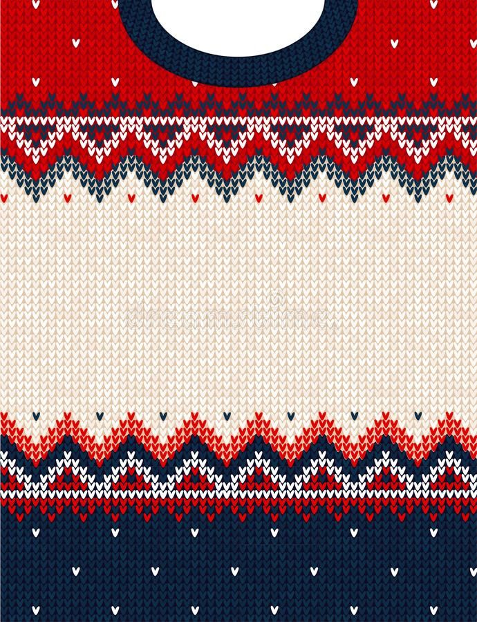 Ugly sweater Merry Christmas ornament scandinavian style knitted background frame border. Ugly sweater Merry Christmas party ornament. Vector illustration stock images