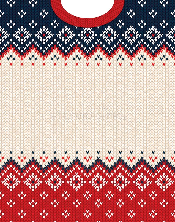 Ugly sweater Merry Christmas ornament scandinavian style knitted background frame border. Ugly sweater Merry Christmas party ornament. Vector illustration royalty free stock images