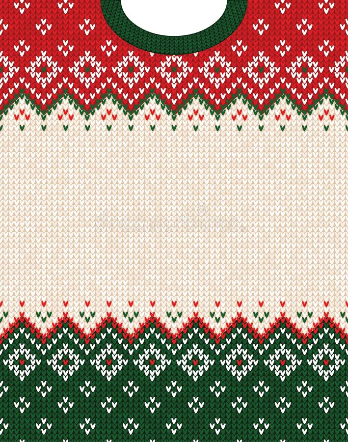 Ugly sweater Merry Christmas ornament scandinavian style knitted background frame border. Ugly sweater Merry Christmas party ornament. Vector illustration royalty free stock image