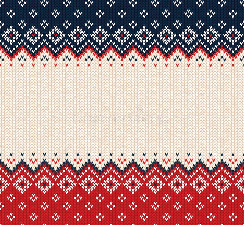 Ugly sweater Merry Christmas ornament scandinavian style knitted background seamless frame border. Ugly sweater Merry Christmas party ornament. Vector stock photo