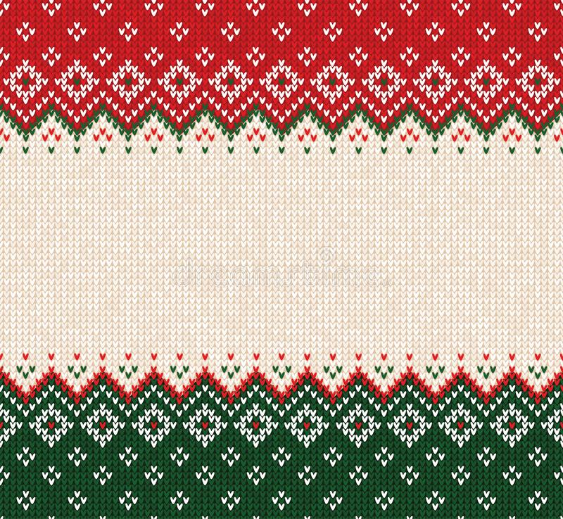 Ugly sweater Merry Christmas ornament scandinavian style knitted background seamless frame border. Ugly sweater Merry Christmas party ornament. Vector royalty free stock photo