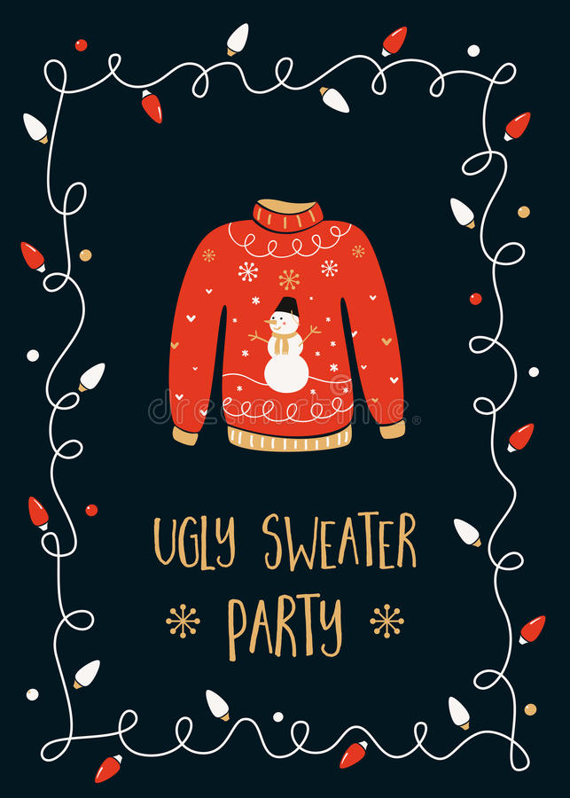 Ugly Sweater Party Invitation Card stock illustration