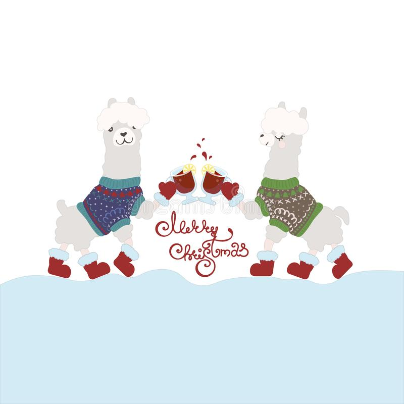 Ugly Sweater Party Invitation template. Happy lamas drinking mulled wine stock illustration