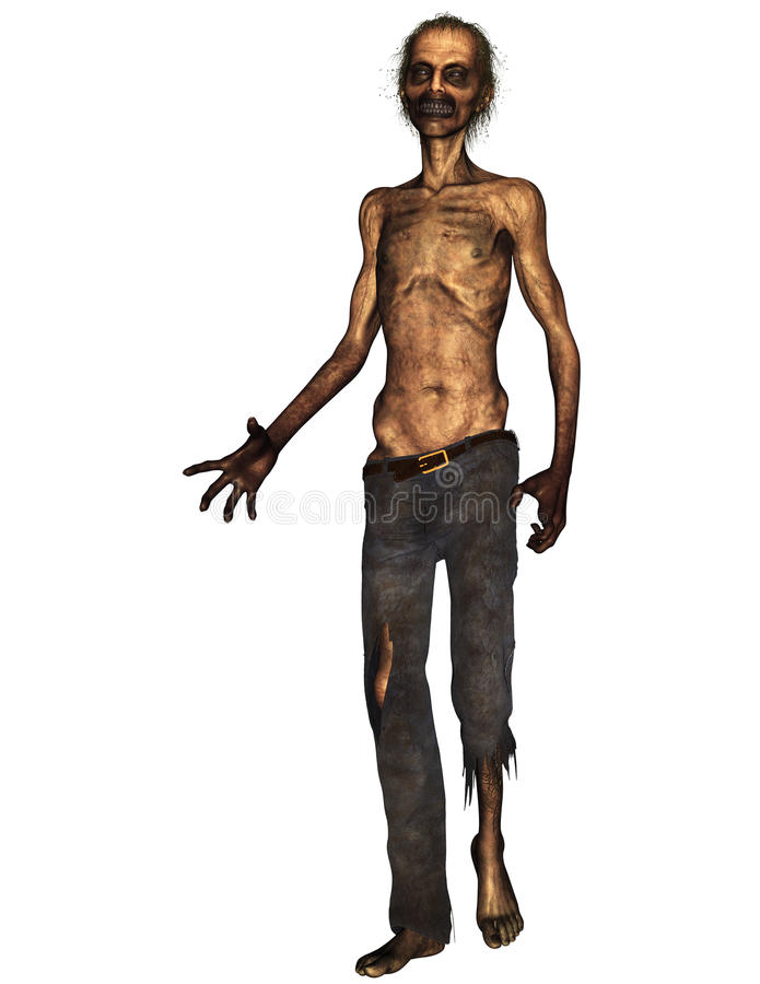 Ugly Zombie on a white background. A 3D rendered image of an ugly zombie covered in dirt on a white background. Ideal for art projects stock illustration