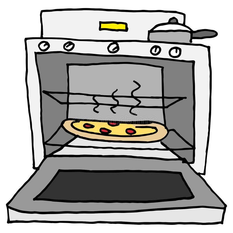 Ugn bakad pizza royaltyfri illustrationer