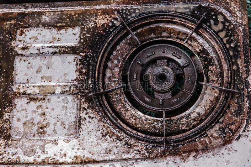 Ugn för gas för smutsig fettolja oren grungy gammal fotografering för bildbyråer