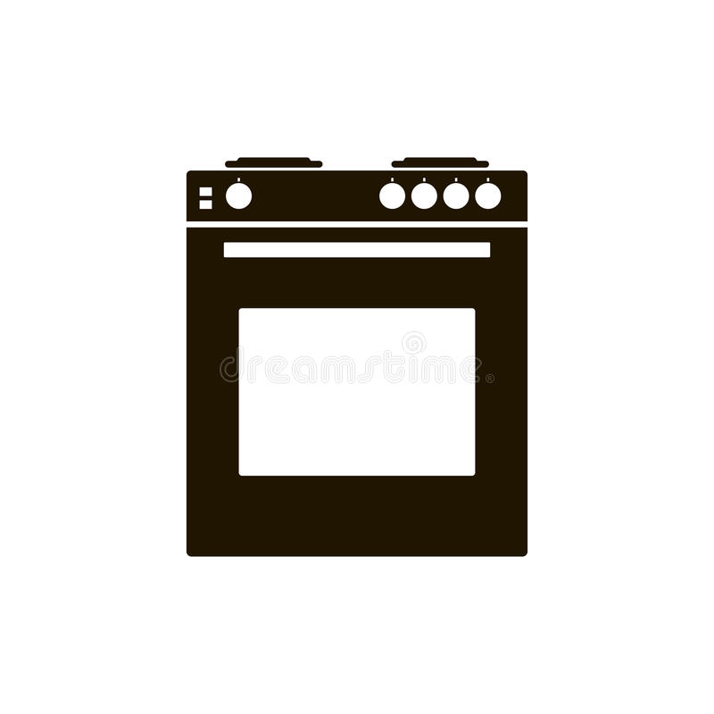 Ugn för vektorsymbolsgas med ugnen för ett kök Svart spis på w royaltyfri illustrationer