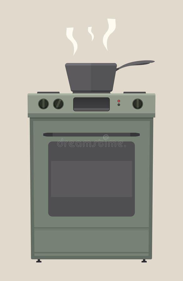 Ugn med matlagningkrukan stock illustrationer