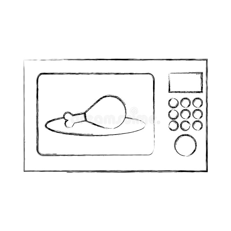 Ugnsmikrovåg med den läckra fega köttsymbolen vektor illustrationer