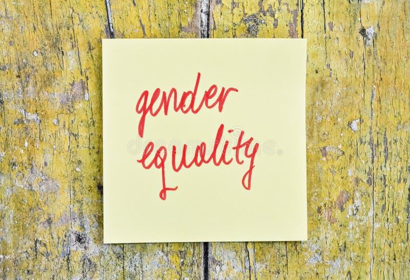 Uguaglianza di genere del testo fotografia stock libera da diritti