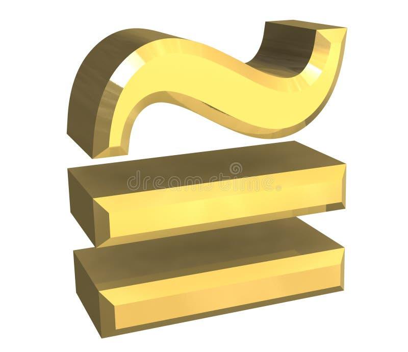 Uguale circa il simbolo di per la matematica in oro royalty illustrazione gratis