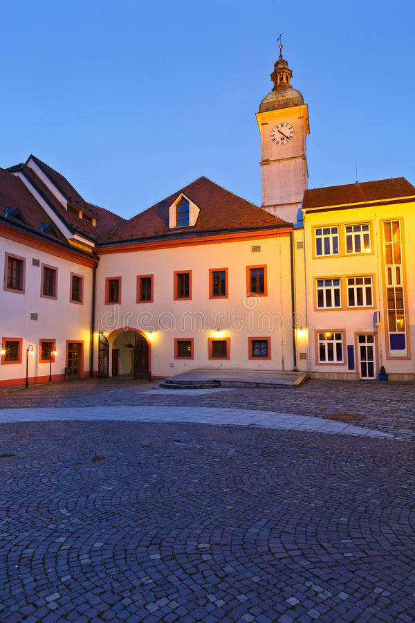 Uherske Hradiste, Czech Republic. Old town hall of Uherske Hradiste as seen from its yard early in the morning royalty free stock photography