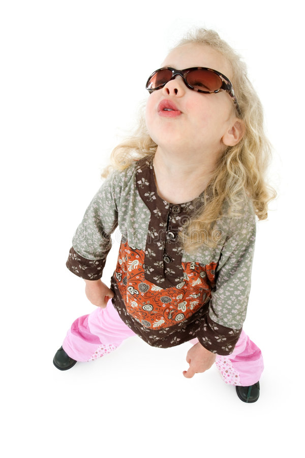 Uhhh baby. A little girl with sunglasses makes uhhhhhh stock photo