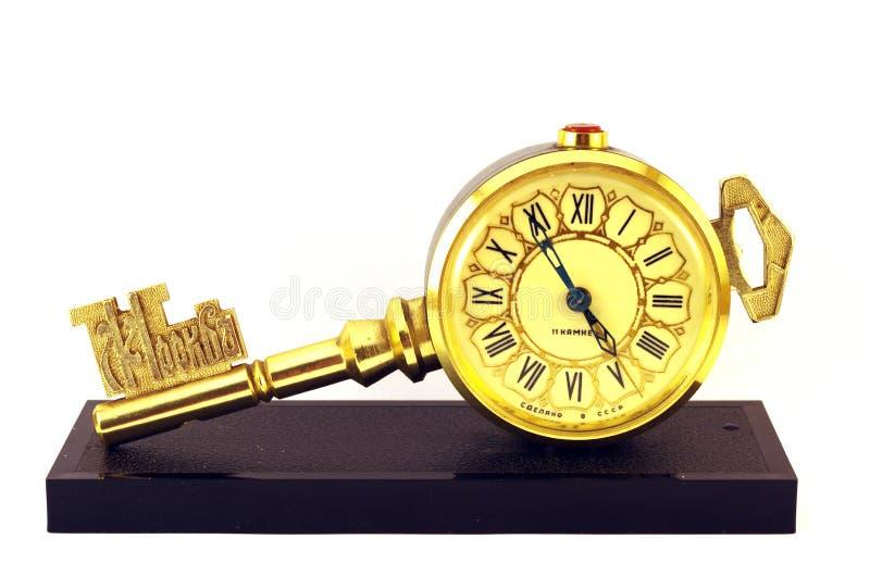 Uhr als Schlüssel lizenzfreies stockbild