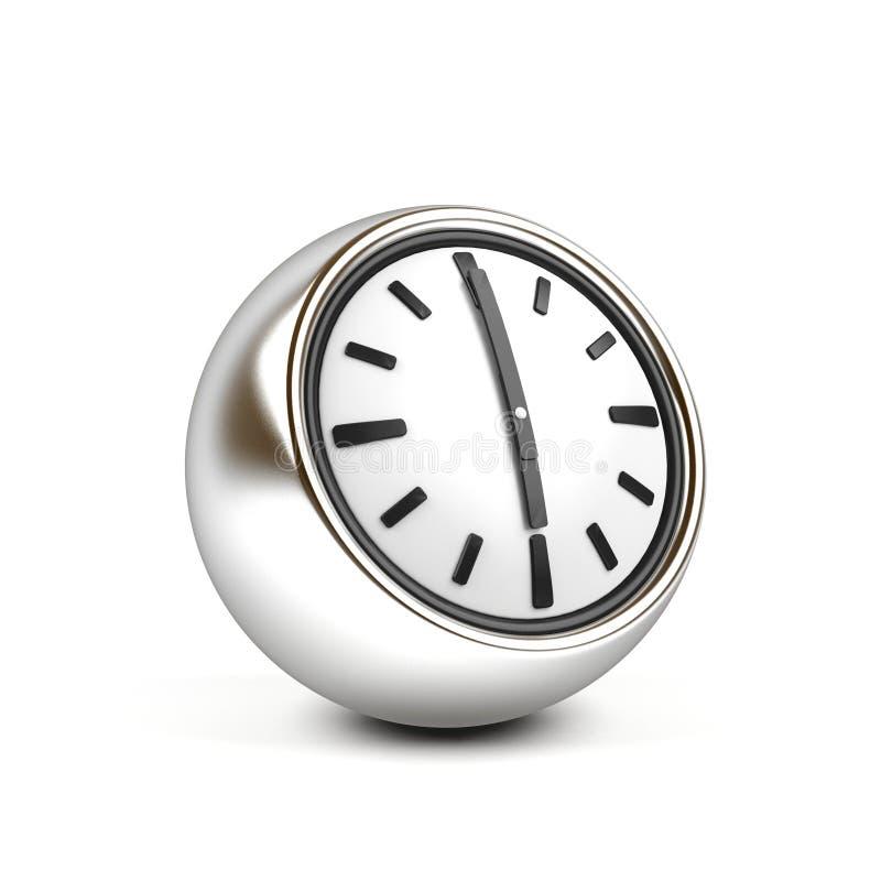 Uhr 3d, welche die Zeit sechs zeigt Borduhr getrennt auf weißem Hintergrund Wiedergabe 3d lizenzfreie abbildung