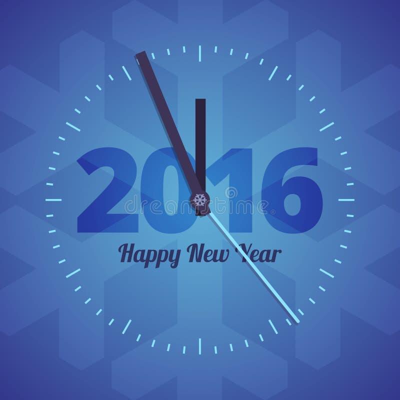 Uhr des guten Rutsch ins Neue Jahr 2016 auf einem blauen Hintergrund stock abbildung