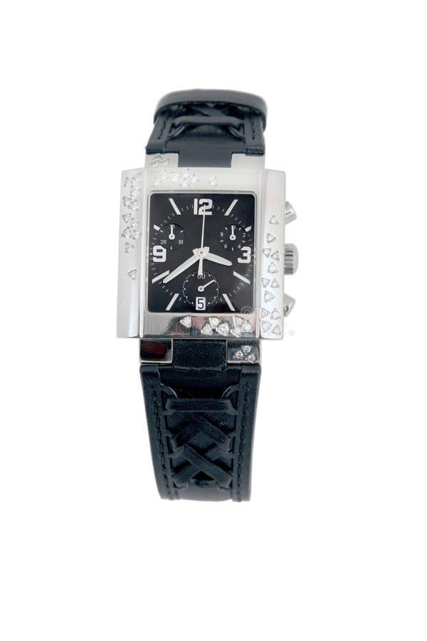 Uhr des schwarzen Leders und des weißen Goldes stockfotografie