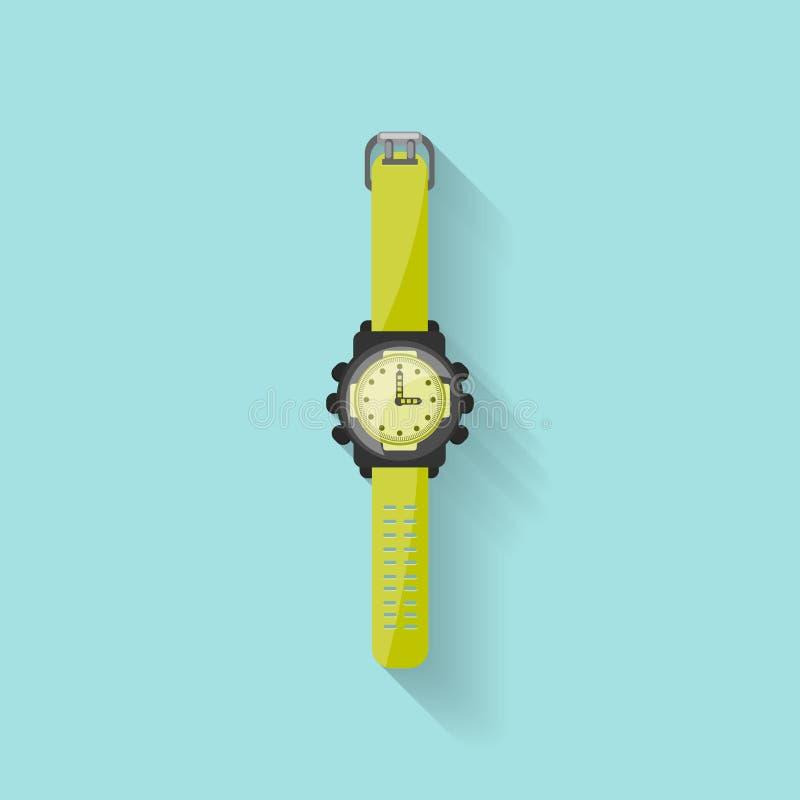 Uhr in einer flachen Art Uhr und Zeit Auch im corel abgehobenen Betrag stock abbildung