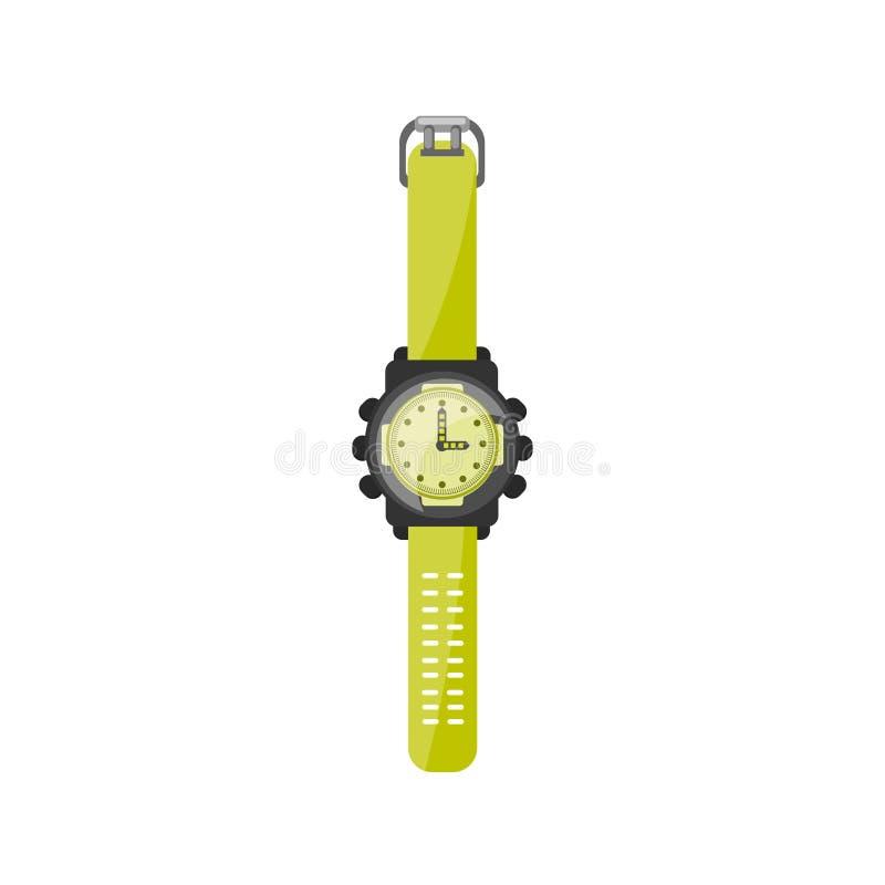Uhr in einer flachen Art Uhr und Zeit Auch im corel abgehobenen Betrag lizenzfreie abbildung