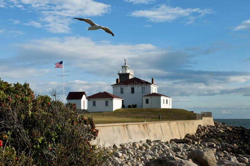 Uhr-Hügel-Leuchtturm im Westerly, Rhode Island stockbilder