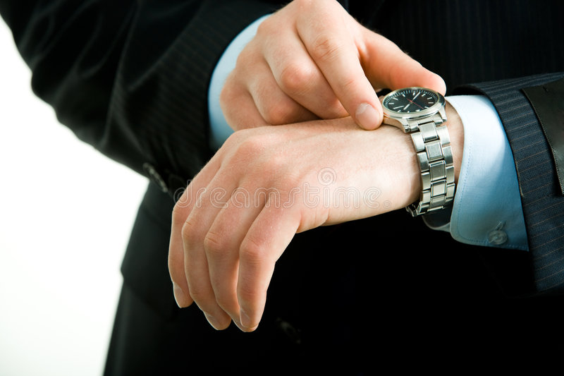 Uhr an Hand lizenzfreies stockbild