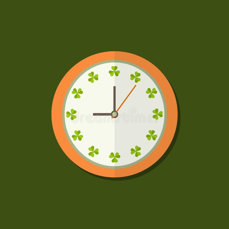 Uhr-Ikone mit Shamrocks Positives Tagesbeginn-Konzept vektor abbildung